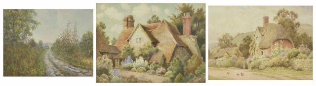 Herbert George (British born 1863) a thatched cottage with floral hedges, stone walled and