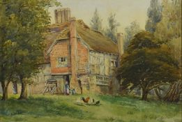 A gilt framed watercolour 'Red brick thatched house' situated in a tree lined wild garden, with