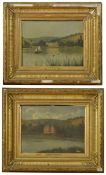 French School, early 20th century, an oil on canvas of a grand chateau overlooking a lake, with a