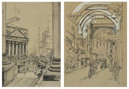 """Eileen Seyd (1907-1976) British """"The Royal Exchange"""" and """"Leadenhall Market"""", a pair of black and"""