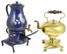 A brass pedestal kettle, 20th century with turned wooden handle, baluster shaped body upon turned