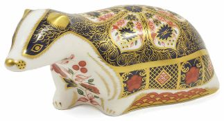 A Modern Royal Crown Derby Old Imari Badger in seating position, decorated in red and blue colour