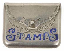 A silver stamp case in the form of an envelope hallmarked Birmingham 1912, with makers initials C&N,