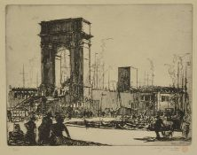 Anthony Raine Barker (British 1880 - 1963) a framed etching of a dock scene, number 3 of 100, signed