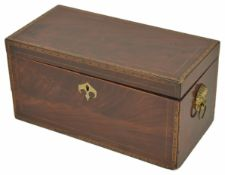 A 19th century mahogany and cross banded tea caddy of rectangular form with hinged lid and two