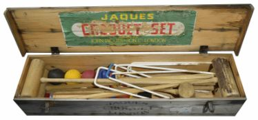 A vintage Jaques croquet set in wooden box complete set with four hardwood mallets, four balls