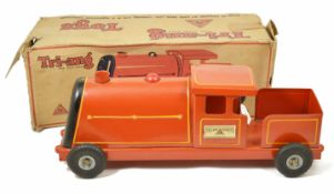 A Tri-ang Express train, circa 1950's with original box, re-painted pillar box red height 18.5 x