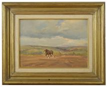 Sally Gaywood (British) 20th century 'Ploughing on Dartmoor' a rustic painting of a man ploughing