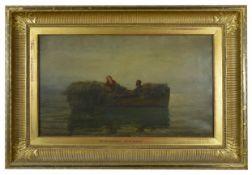 Colin Hunter (1841-1904) Scottish 'The Return Home', oil on canvas, atmospheric dusk scene, couple