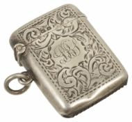 A silver vesta case hallmarked Birmingham, 1919 the hinged case with engraved decoration, and