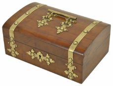 A late 19th century walnut veneered jewellery casket of slight domed top, with applied brass strap