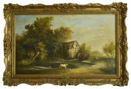 School of Constable, 19th Century large oil on board Farmhouse, pond with ducks and horses and