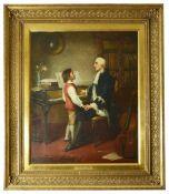 Edward Hughes (British 1832 - 1908) 'The Music Lesson', large oil on canvas, ornate gilt frame,