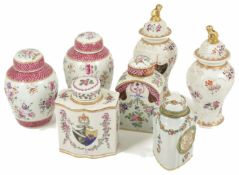 A collection of seven Continental porcelain tea caddies, 19th century and later to include a pair of