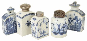 A collection of porcelain tea caddies, 18th century and later to include two Oriental blue and white