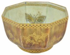 A Wedgwood Fairyland lustre ware bowl of hexagonal form, pattern number Z4830, decorated on the