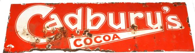 A 1930's Cadbury enamel wall sign of rectangular form with red background and white lettering '
