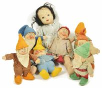 A set of Chad Valley Snow White and the Seven Dwarves 1930's, the set comprising Snow White (wearing