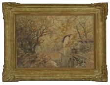 Ernest Pile Bucknall (British 1861-1919) 'Autumn' a scene of water mill within a forest. Signed