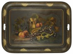A Victorian Tole style tray of rectangular form with cut out handles, the centre painted with a