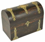 A 19th century Coromandel dome top tea caddy with metal strapping and escutcheon, the hinged lid
