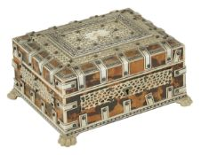 An Indian Vizagapatum style box, 20th century with bone banding and filigree work upon