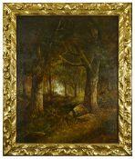Joseph Thors (Dutch 1835-1920) The Faggot Gatherers, Gathering kindling in dense woodland, large oil