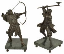 A pair of bronze Oriental warriors, 20th century each figure standing, one aiming a bow and the