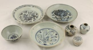 Three Chinese Swatow blue and white plates, late Ming to include a dish with central painted