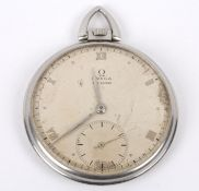 A stainless steel cased Omega gentleman's pocket watch the dial with Roman numerals and subsidiary