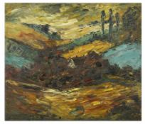 A British School framed oil on canvas abstract scene with a house and trees in the distance in