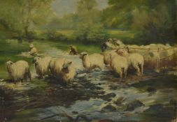British School 'Dipping the Sheep' 20th century depicting figures washing the sheep in dip, within a