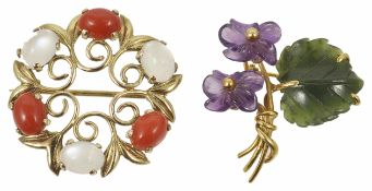 A coral and moonstone scroll brooch and another the scroll brooch yellow metal mounted (tests gold),