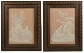 A pair of pate sur pate plaques, possibly J H Cope & Co, late 19th century