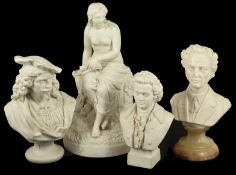 A collection of four late 19th century parian busts including Mozart in typical dress upon a
