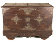 A hardwood painted coffer, 20th century of rectangular form with hinged lid, with applied metal