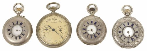Three silver half hunter pocket watches, late 19th century together with a chrome cased pedometer (