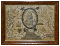 An early 18th Century silk and metallic thread needlework and stumpwork picture with central oval
