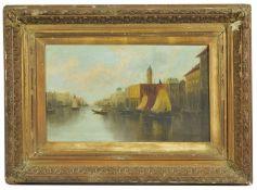 A 19th Century Continental Neapolitan gondola river scene oil on canvas, with waiting gondolas and