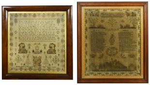 Two mid 19th Century oak framed samplers the first embroidered with verse and coloured threads