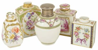A collection of five European/Continental porcelain tea caddies, 19th century and later to include a