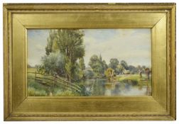 Early 19th Century watercolour and another watercolour the former, tree lined river bank with
