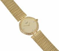 "An 18ct gold and diamond ""Sarcar"" gentleman's wristwatch of slim proportions the circular dial"