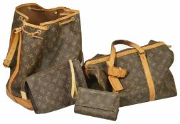 Two Louis Vuitton bags together with a small make-up bag and purse, both bags monogrammed canvas