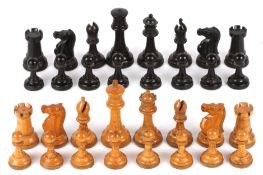 A harlequin set of Jaques Staunton style chess pieces, early 20th century comprising of boxwood and