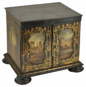 A Grand Tour style papier-m?ch? and ebonised table cabinet of rectangular form, the exterior
