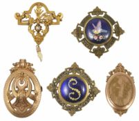A French Art Nouveau foliate drop brooch together with four other gilt metal brooches of various