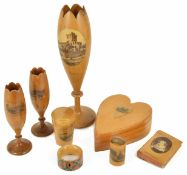 A collection of Mauchline Wares to include two bud vases 'Bridge of Allan', a large vase 'Wood Crown