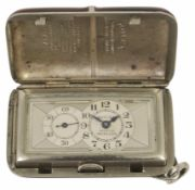 Rolex Sporting Princess: A rare rhodium plated and burgundy red purse watch, circa 1933 the two tone