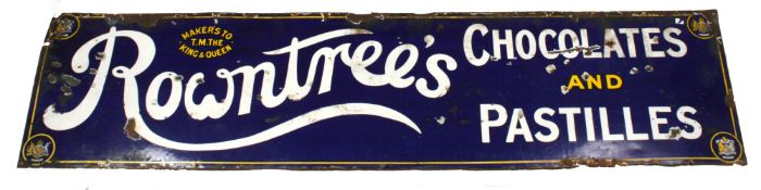 A 1930's Rowntree's enamel wall sign of rectangular form, with blue enamel background, white